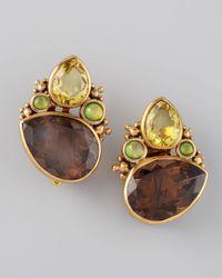 Stephen Dweck - Brown Quartz Cluster Clip Earrings - Lyst