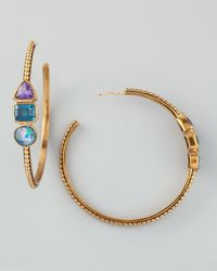 Stephen Dweck - Multicolor Triplestone Hoop Earrings - Lyst