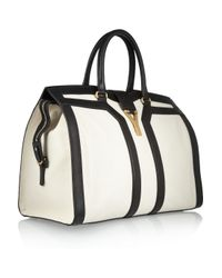 Saint Laurent | White Large Cabas Chyc Leather Tote | Lyst