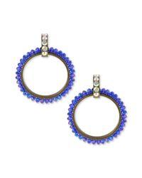 Betsey Johnson - Purple Gold Tone Blue Faceted Bead Doorknocker Earrings - Lyst