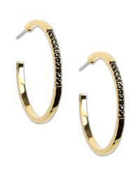 Judith Jack | Metallic 14k Gold Plated Sterling Silver Marcasite Hoop Earrings 15 Ct Tw | Lyst