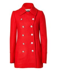 McQ - Red Double breasted Wool-cashmere Coat - Lyst
