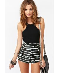 Nasty Gal - Black Tie Dye Leather Shorts - Lyst