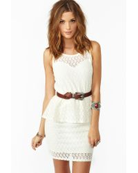 lyst  nasty gal laced peplum dress in white