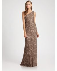 THEIA   Brown Beaded Asymmetrical Gown   Lyst