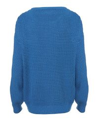 Topshop | Blue Knitted Textured Grunge Jumper | Lyst