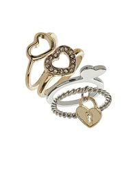 TOPSHOP - Multicolor Heart 4 Pack Ring Set - Lyst