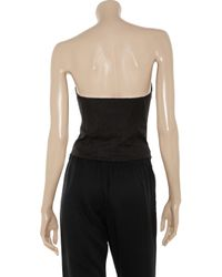 Alexander Wang | Black Leahter Trimmed Cotton Blend Bustier Top | Lyst