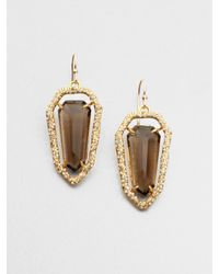 Alexis Bittar | Metallic Smokey Quartz Jeweled Shield Earrings | Lyst