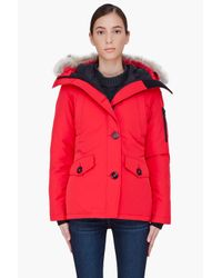 db739dc69c456 Canada Goose Red Fur Trim Montebello Parka in Red - Lyst