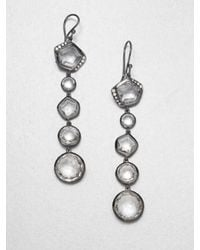 Ippolita | Metallic Diamond Long Drop Blackened Sterling Silver Earrings | Lyst
