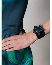 Lanvin | Blue Suede and Swarovski Crystal Star Cuff | Lyst
