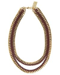 Lizzie Fortunato | Metallic Double Chain W Leather Necklace | Lyst