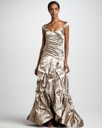 Nicole Miller | Ruched Metallic Gown | Lyst
