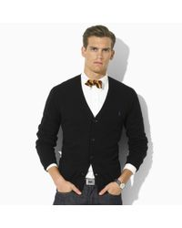 Polo Ralph Lauren | Black Suede-patch Merino Cardigan for Men | Lyst