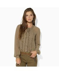 Ralph Lauren Blue Label | Brown Atlanta Woven Georgette Blouse | Lyst