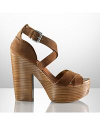 Ralph Lauren Collection | Brown Alannah Suede Platform Sandal | Lyst