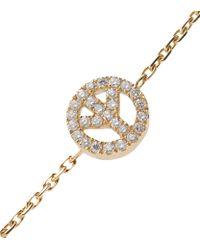 RedLine - Metallic Diamond Pavã Peace Charm Bracelet On Chain - Lyst