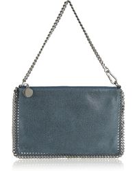 Stella McCartney | Blue Velvet Python Fold Over Bag | Lyst