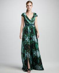 Vera Wang Lavender - Green Printed Chiffon Gown - Lyst