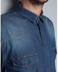 Zara | Blue Studded Denim Shirt for Men | Lyst