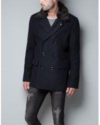 Zara | Blue Three Quarter Length Coat with Fur Collar for Men | Lyst