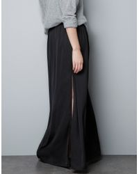Zara | Black Long Skirt with Splits | Lyst