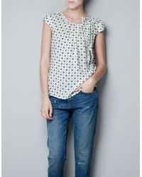Zara   White Printed Top with Bow On The Shoulder   Lyst