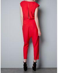 Zara | Red Zip Front Jumpsuit | Lyst