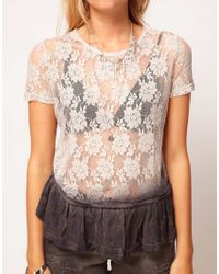 ASOS Collection - Natural Lace Dip Dye Peplum Top - Lyst