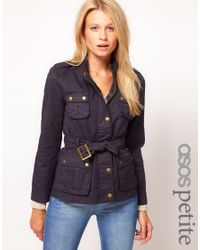ASOS Blue Belted Wax Jacket