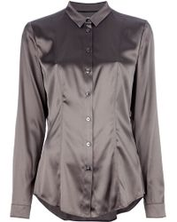 bb279935cd3317 Burberry Silk Blouse in Gray - Lyst