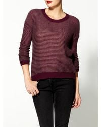 Enza Costa | Red Cashmere Reverse Stripe Crew Sweater | Lyst