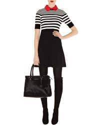 Karen Millen | Black Stripe Polo Knit Dress | Lyst