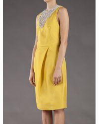 Lela Rose | Yellow Crystal Embroidered Dress | Lyst