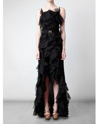 Nina Ricci | Black Belted Ruffle Gown | Lyst