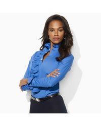 Ralph Lauren Blue Label | Blue Meesha Ruffle-front Shirt | Lyst