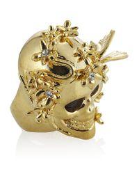 Alexander McQueen - Metallic Gold Flower Skull Cocktail Ring - Lyst