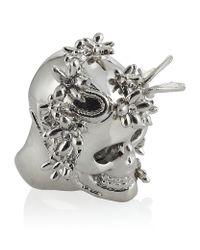 Alexander McQueen | Metallic Silver Flower Skull Cocktail Ring | Lyst