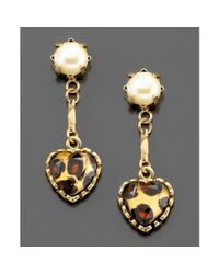Betsey Johnson | Metallic Leopard Heart Drop Earrings | Lyst