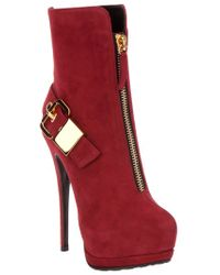 Giuseppe Zanotti | Red Buckled Ankle Boot | Lyst