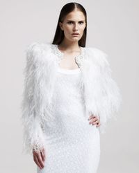 Givenchy | White Jewelled Ostrich Feather Fur Coat | Lyst