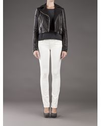 J Brand - Black Aiah Leather Biker Jacket - Lyst