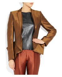 Haider Ackermann   Brown Wool and Silkblend Peplum Jacket   Lyst