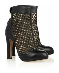 Valentino | Black Studded Leather and Mesh Ankle Boots | Lyst