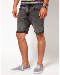 ASOS Gray Denim Shorts with Acid Wash for men