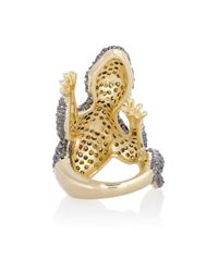 Kenneth Jay Lane - Blue Cubic Zirconia Gecko Ring - Lyst