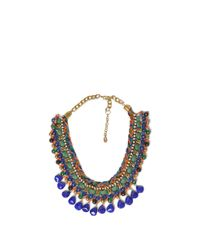 Zara | Blue Cord Chain Necklace with Coloured Rhinestones and Diamante | Lyst