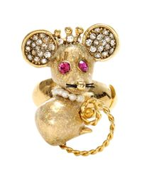 Betsey Johnson - Metallic Mouse Stretch Ring - Lyst