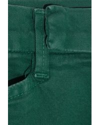 J Brand | Green Cropped Midrise Skinny Stretch Cotton Pants | Lyst